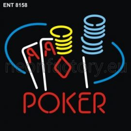 8158 poker with cards neon
