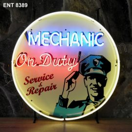 ENT 8389 Mechanic on duty neon sign automotive auto car neonfactory neon designs logo fifties