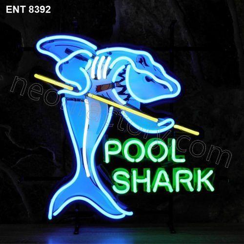 ENT 8392 Pool Shark neon sign neonfactory neon designs logo fifties biljart pool mancave