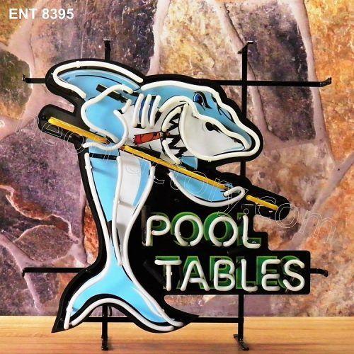 ENT 8395 Pool Tables neon sign neonfactory neon designs logo fifties shark biljart pool mancave
