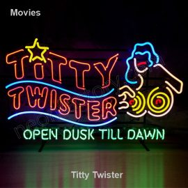 Movie Neon Titty Twister Film television theater logo name text bar restaurant mancave neonfactory stage