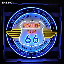 ENT 6021 Route 66 All States néon sign automotive neonfactory neon motor designs fifties L'enseigne neon les compagnies pétrolières