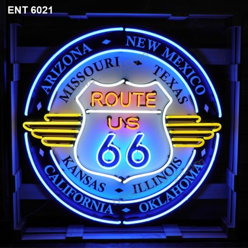 ENT 6021 Route 66 All States neon automotive neonfactory motorcycle neon designs logo fifties petrol companies
