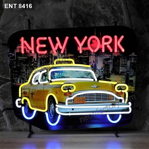 ENT 8416 New York Taxi neon sign checker cab neonfactory neon designs logo fifties Signs USA