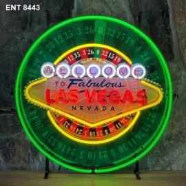 ENT 8443 Las Vegas roulette neon sign neonfactory car designs logo fifties Signs USA bar decoration mancave vintage store