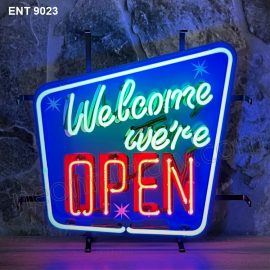 ENT 9023 Welcome we're open neon sign neonfactory car designs logo fifties Signs USA bar decoration mancave vintage store